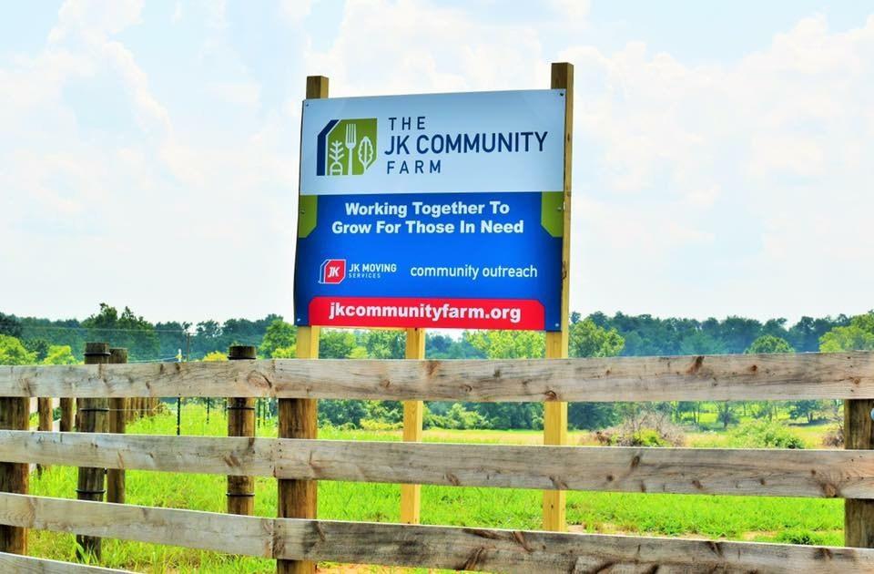 The JK Community Farm sign