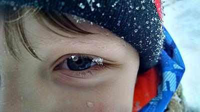 Snow on eyelash