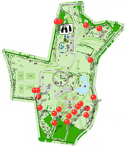 Franklin Park map showing Bluebird boxes