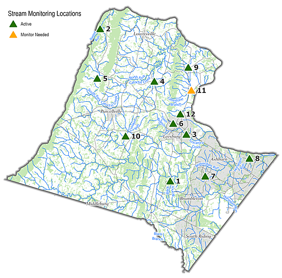 Map of stream monitoring sites