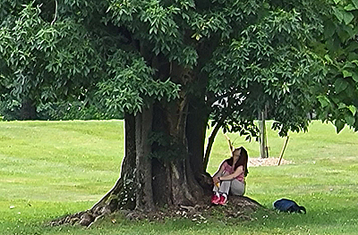 Woman under a tree